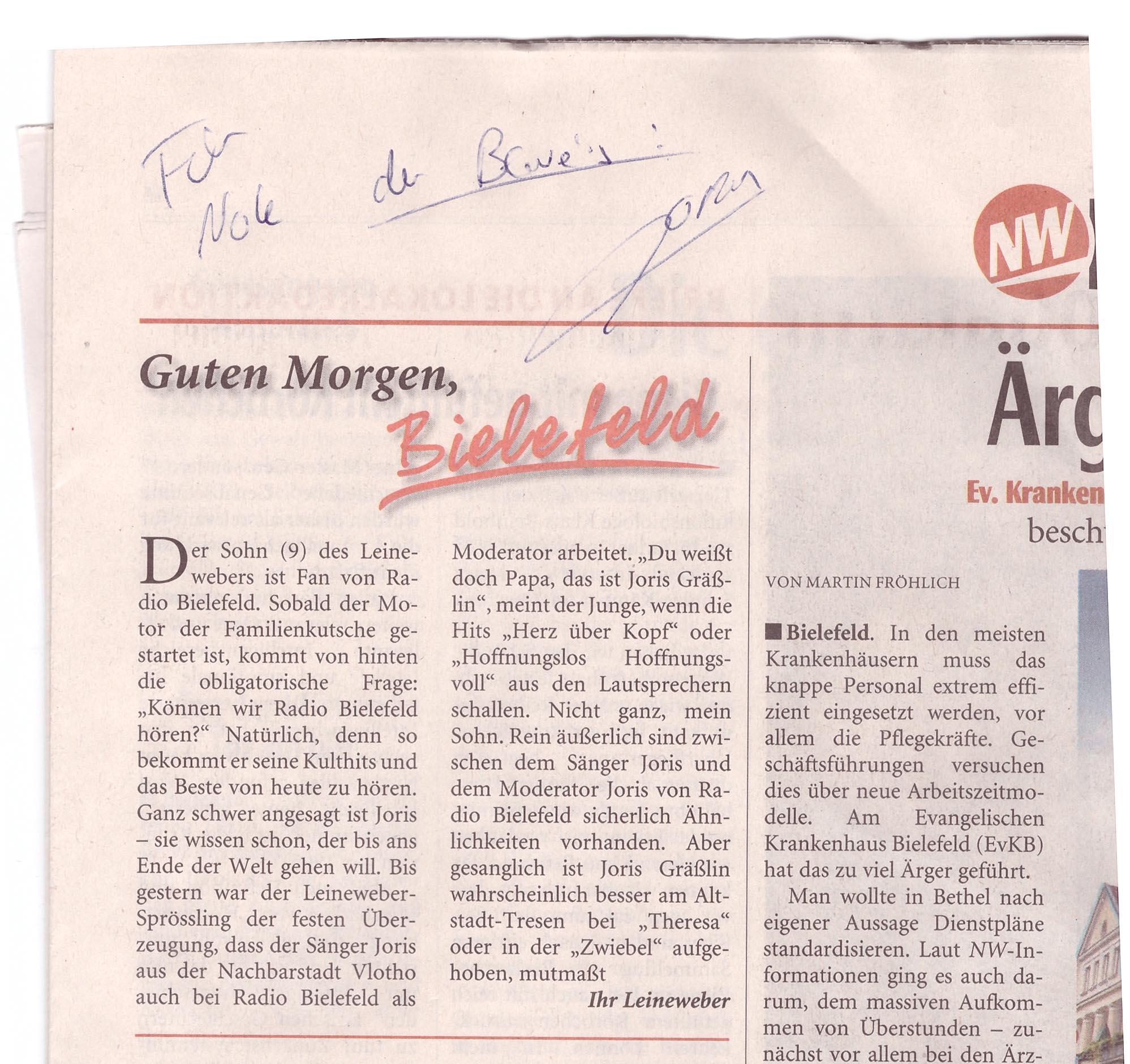 Der Original-Leineweber in der NW und darauf das Autogramm von Joris für Nole.